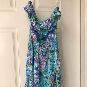 Lilly Pulitzer size large strapless dress blue